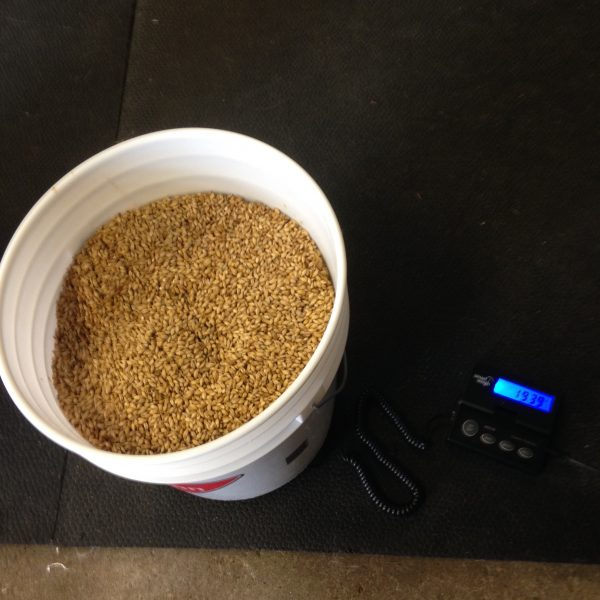 19lbs of malt, 0.39lbs of water to achieve 2% moisture content.
