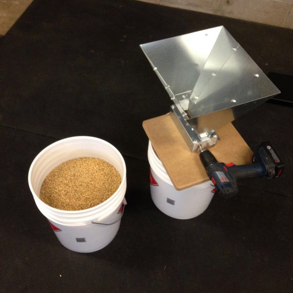 My milling set up. Measure grain into bucket 1, mill into bucket 2.